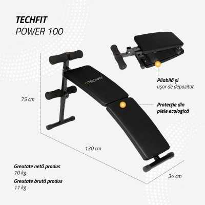Banca abdomene pliabila TECHFIT POWER 100